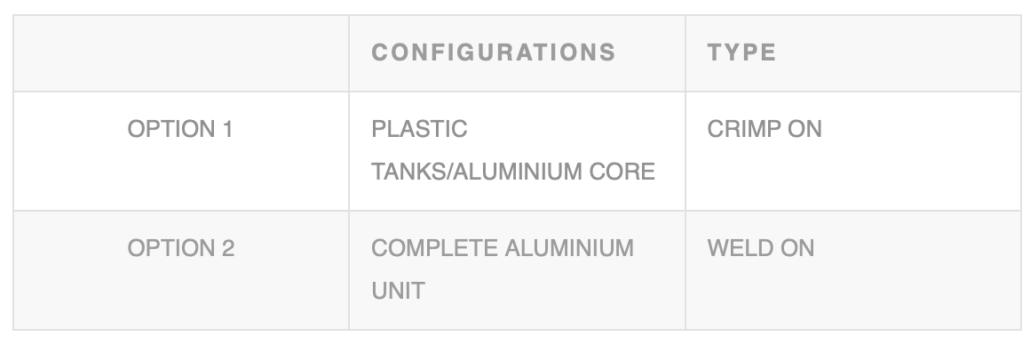 CONFIGURATIONS TYPE OPTION 1 PLASTIC TANKS/ALUMINIUM CORE CRIMP ON OPTION 2 COMPLETE ALUMINIUM UNIT WELD ON